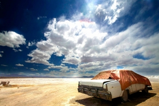Abandoned car on the Salinas Grandes, Argentina
